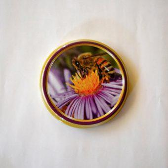 Капачка за буркан Ф82- №5 пчела с цветче/лилава