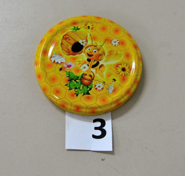 Капачка за буркан Ф82- №3 пчела с цветя и тръвна