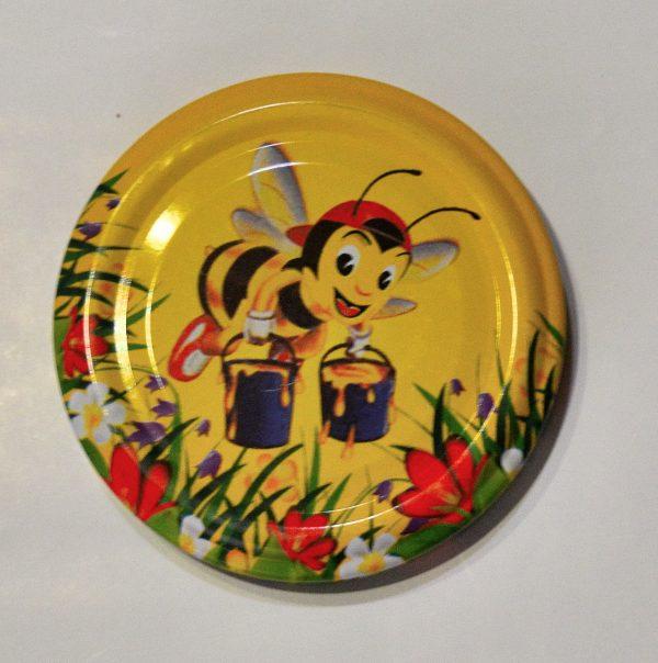 Капачка за буркан Ф82- №12 Мая с делвички, цветя/жълт